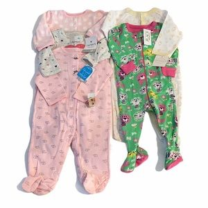 Carter's pink 3-6 and 6month footie bundle